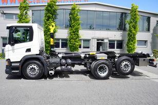 camion ampliroll SCANIA P410 , E6 , 6X2 , 60k km , NEW HOOK 20T , steer / lift axle , Lo