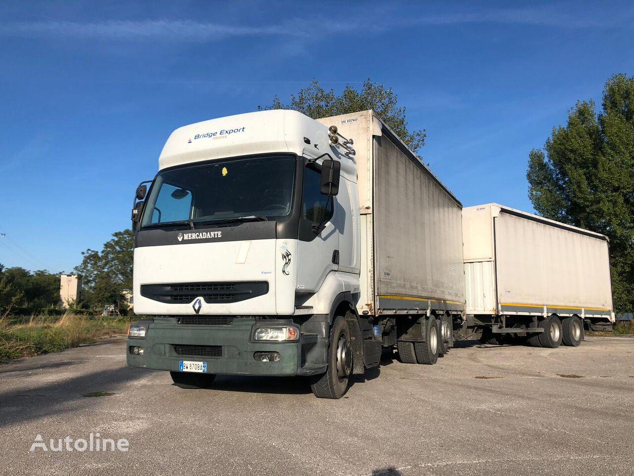camion bâché RENAULT PREMIUM 420 DCI + biga Omar + rimorchio centinato