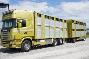 camion bétaillère SCANIA R164 V8 , 6x2 , 2 hydraulic decks , 70m2 , live stock + remorque bétaillère