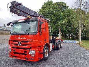 camion forestier MERCEDES-BENZ Actros 3360 -6x4-hiab crane-steel suspension-alcoa
