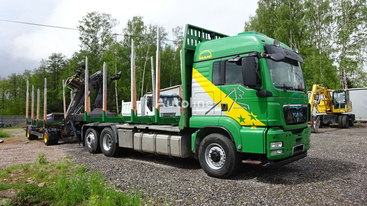camion forestier MAN TGS 26-480 6x4 Hydrodryve + remorque forestière