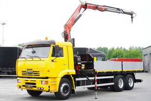 camion plateau KAMAZ 65117 , 6x4 , Crane Fassi 95 , rotator , box 6m